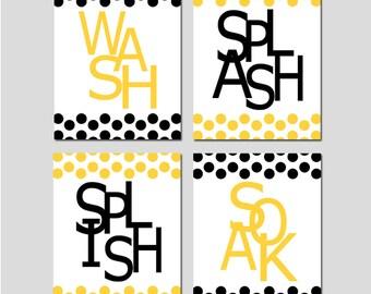 Kids Bathroom Wall Art Print Set - Pick FOUR 8x10 Polka Dot Prints - Wash, Brush, Soak, Splish, Splash, Flush - Choose Your Colors