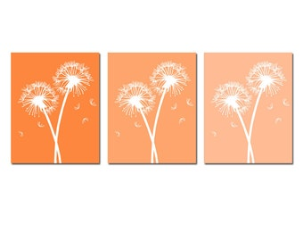 Modern Dandelion Trio - Set of Three 11x14 Coordinating Floral Prints - Wall Art - CHOOSE YOUR COLORS - Shown in Orange, Yellow and More
