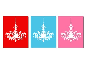 Modern Chandelier Trio - Set of Three 8x10 Prints - Modern Nursery Art - CHOOSE YOUR COLORS - Shown in Pink, Red, Sky Blue, and More