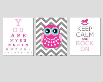 Modern Nursery Trio - Set of Three 11x14 Prints - You Are My Sunshine Eye Chart, Chevron Owl, Keep Calm and Rock On - Shown in Pink and Gray