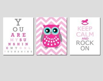 Modern Nursery Trio - Set of Three 8x10 Prints - You Are My Sunshine Eye Chart, Chevron Owl, Keep Calm and Rock On - Pink and Gray