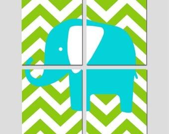 Chevron Elephant - Nursery Art Quad - Set of Four 8x10 Prints - Kids Wall Art - CHOOSE YOUR COLORS