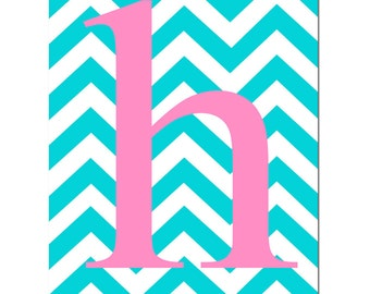 Chevron Monogram Initial - Customized Initial Letter - 11x14 Print - Choose Your Letter and Colors - Lowercase