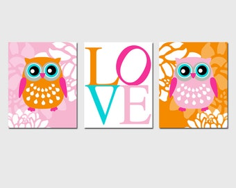 Modern Owl Love Floral Trio - Set of Three 8x10 Nursery Prints - CHOOSE YOUR COLORS - Shown in Orange, Pink, Aqua, Gray, and More