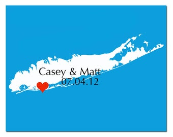 Personalized Love Wedding Location Map 8x10 Custom Print - Long Island - WEDDING GIFT, Guestbook, Anniversary Gift, Housewarming