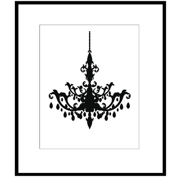 Chandelier - 8x10 Print - Modern Chandelier Silhouette - CHOOSE YOUR COLORS - Shown in Black and White, Red, Pale Aqua and More