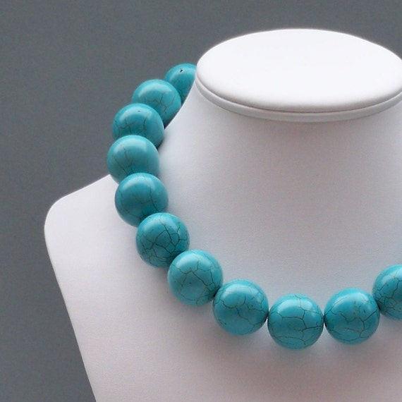 Allison - Chunky 25mm Round Turquoise Howlite Gemstone Beaded Necklace