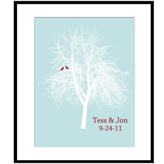 Lovebird Tree - Customizable with Names and Date - 8x10 Print - Anniversary, Wedding Gift - CHOOSE YOUR COLORS