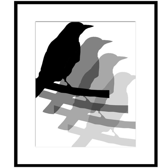 Bird Quad Silhouette - 8x10 Print - Large Scale Silhouette - Black, White and Gray