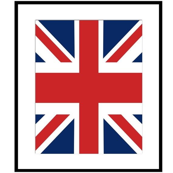 Union Jack Flag - 8x10 Classic British Print - CHOOSE YOUR COLORS - Shown in Red, White, and Navy Blue - England, United Kingdom, Europe