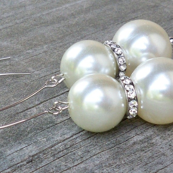 Alessandra - Chunky Cream Pearl and Rhinestone Beaded Dangle Earrings