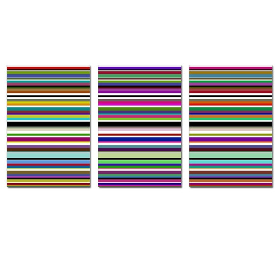 Wall Art - Modern Decor Rainbow Stripe Trio - Set of Three Large 13x19 Coordinating Prints - Multicolored Striped Lines