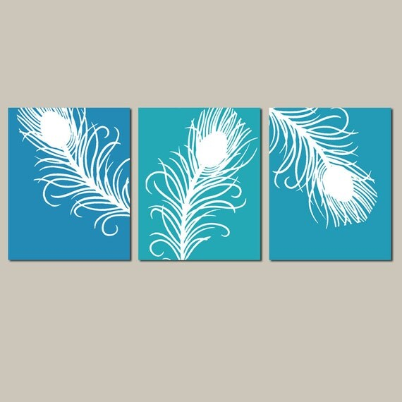 Modern Peacock Feather Trio - Set of Three 8x10 Prints - Choose Your Colors - Shown in Peacock Blue, Turquoise, Aqua