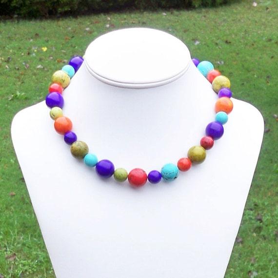Maraz - Chunky Modern Rainbow Multicolor Turquoise 16mm Round Gemstone Beaded Necklace