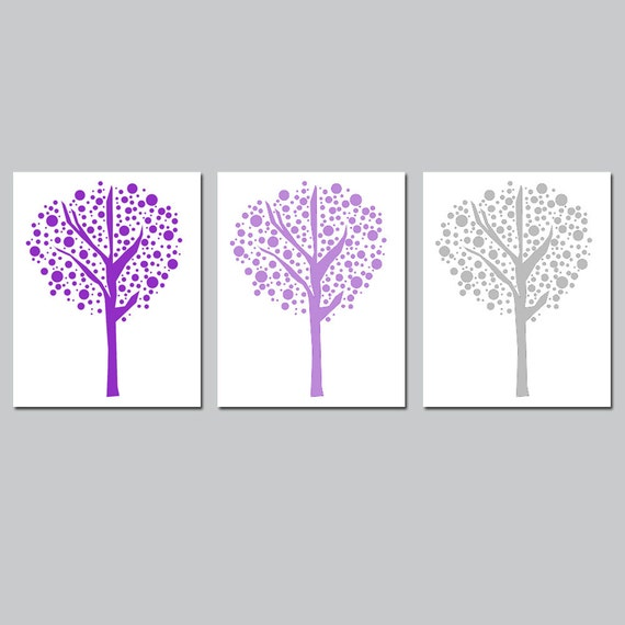 Tree Dot Trio - Set of Three 8x10 Prints - Modern Nursery Decor - Kids Wall Art - CHOOSE YOUR COLORS - Shown in Purple, Gray, and More