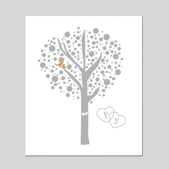 Reserved for Gina - Lovebirds Tree Initials Monogrammed Wedding Thank You Card - Gray Tree and Orange Birds