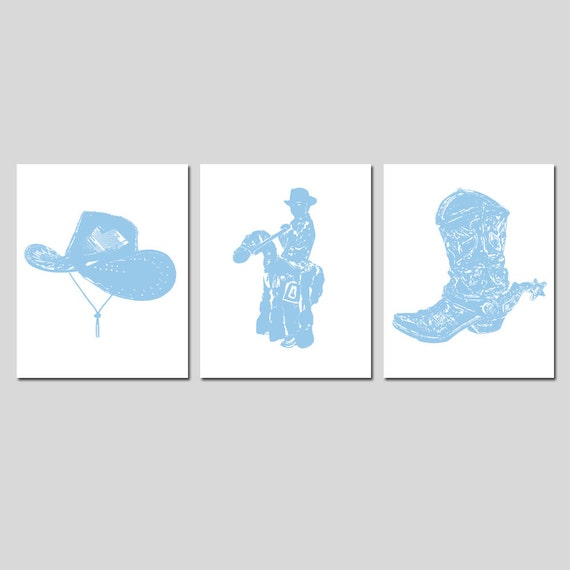Country Western Wild West - Set of Three 8x10 Nursery Childrens Prints - Cowboy Hat, Cowboy Kid, Cowboy Boot - Choose Your Colors