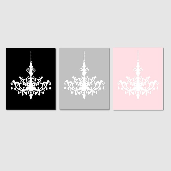 Modern Chandelier Trio - Set of Three Coordinating 8x10 Chandelier Art Prints - CHOOSE YOUR COLORS - Shown in Black, Pale Gray, Pale Pink