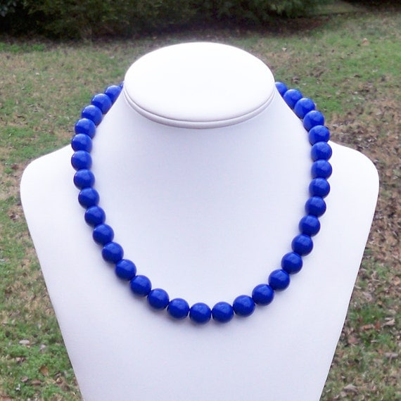 Clarkson - Chunky, Bold 12mm Round Royal Blue Classic Beaded Necklace