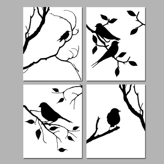 Birds of a feather wall art quad set of four 8x10 for Decor outline