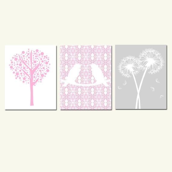 Nursery Trio - Set of Three 8x10 Prints - Love Birds, Tree Dot, Dandelion Floral - Choose Your Colors - Shown in Pink, Taupe, Gray