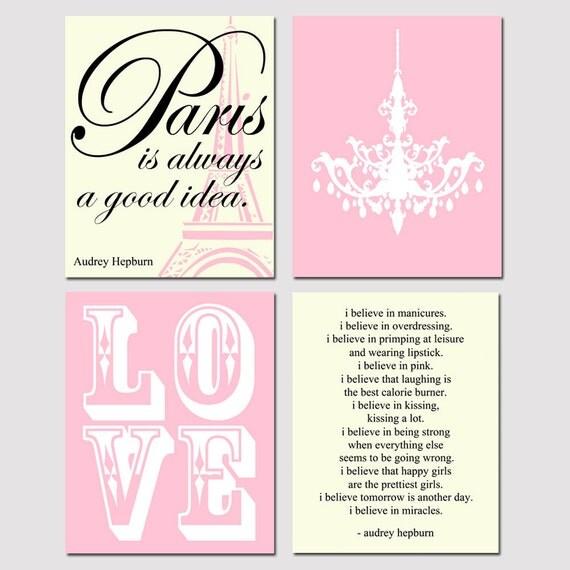 Audrey In Paris - Set of Four 11x14 Prints - LOVE, Audrey Hepburn Quotes, Chandelier - Choose Your Colors - Shown in Pink, Cream, Black