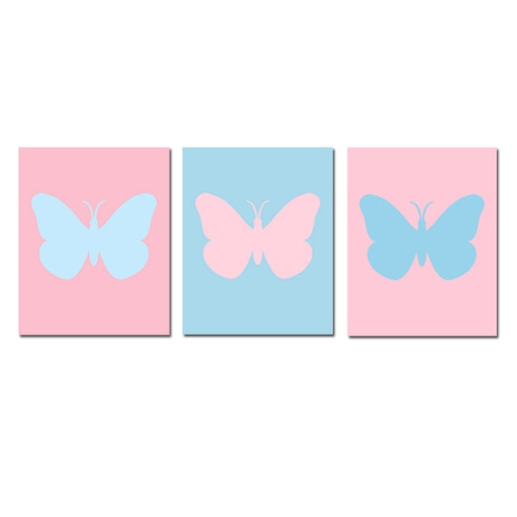 Butterfly Silhouette Baby Girl Nursery Wall Art  - Set of Three Coordinating 8x10 Prints - CHOOSE YOUR COLORS - Shown in Pink and Blue