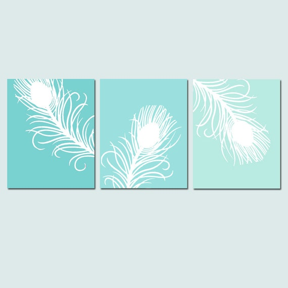 Modern Peacock Feather Trio - Set of Three 8x10 Coordinating Wall Art Prints - CHOOSE YOUR COLORS - Shown in Aqua Green Ombre