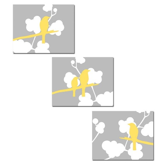 Modern Birds Trio - Set of Three 11x14 Coordinating Bird on a Branch Prints - Choose Your Colors - Shown in Gray, Yellow, White