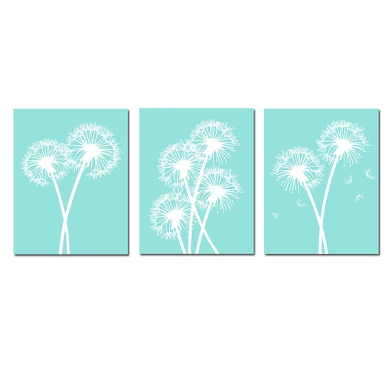 Modern Dandelion Trio - Set of Three Dandelion Floral 11x14 Coordinating Prints - CHOOSE YOUR COLORS - Shown in Sea Aqua, Gray, and More