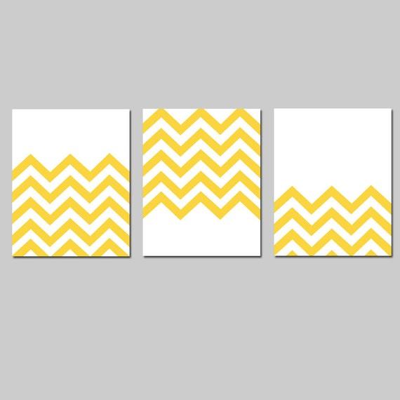 Modern Chevron Trio - Set of Three 8x10 Zig Zag Chevron Prints - Choose Your Colors - Shown in Yellow and White