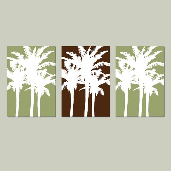 Tropical Wall Art for Home - Modern Palm Tree Silhouette Trio - Set of Three 13x19 Coordinating Prints - CHOOSE YOUR COLORS