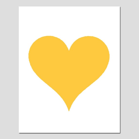 Simple Heart - 5x7 Original Print - Perfect For Modern Nursery - CHOOSE YOUR COLORS - Shown in Yellow, Black, Pink, Aqua, Red, and More