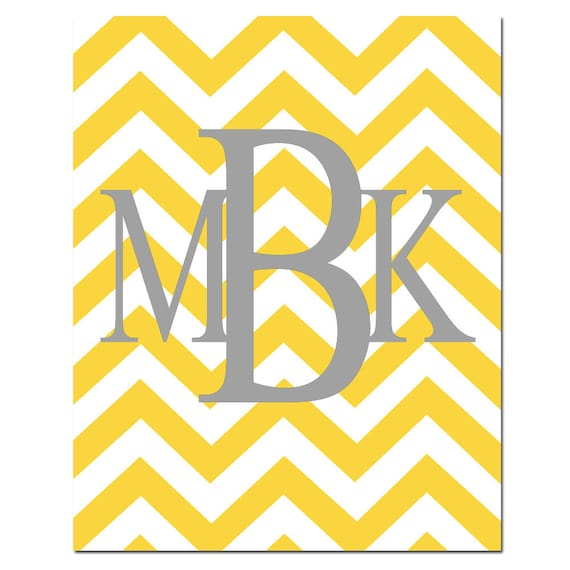 Chevron Monogram Initials - 11x14 Print - Choose Your Letters and Colors - Chevron Design Pattern - GREAT GIFT