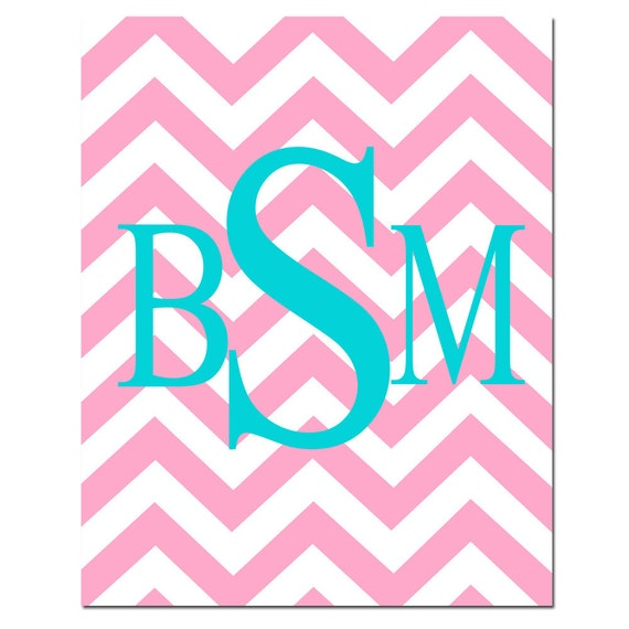 Chevron Monogram Initials - 8x10 Print - Choose Your Letter and Colors - Kids Wall Art - Nursery