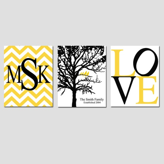 Family Love - Set of Three 8x10 Prints - Chevron Monogram, Family Established Birds Tree, Love Typography - GREAT WEDDING GIFT