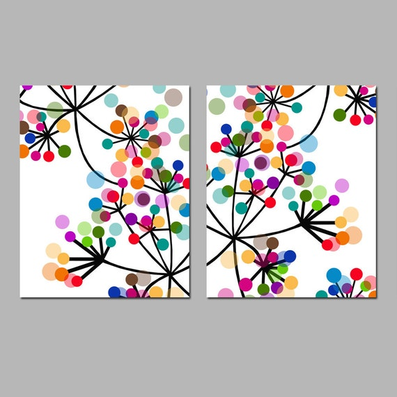 Modern Abstract Botanical Floral Duo - Set of Two 8x10 Prints - Colorful Wall Art for Home Decor
