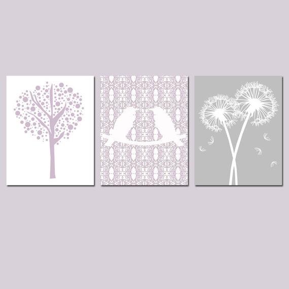 Nursery Trio - Set of Three 8x10 Prints - Love Birds, Tree Dot, Dandelion Floral - CHOOSE YOUR COLORS - Shown in Pale Purple, Gray