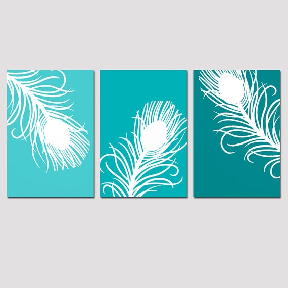 Teal Blue Vs Teal Green Colors Comparison: Modern Peacock Feather Trio Set Of Three 11x17 Prints