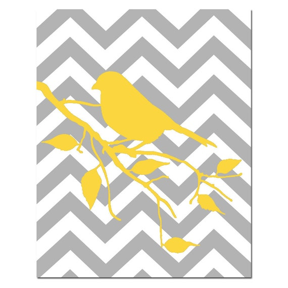 Modern Chevron Bird Silhouette Print - 8x10 - CHOOSE YOUR COLORS - Shown in Gray, Yellow, Black and More