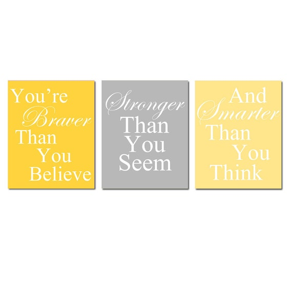 Set of Three 8x10 Coordinating Winnie The Pooh Quote Prints - Modern Nursery Decor - Kids Wall Art - CHOOSE YOUR COLORS