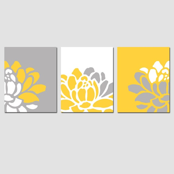 Floral Trio - Set of Three 8x10 Flower Art Prints - Modern Nursery or Home Decor - Choose Your Colors - Shown in Yellow, Gray, White