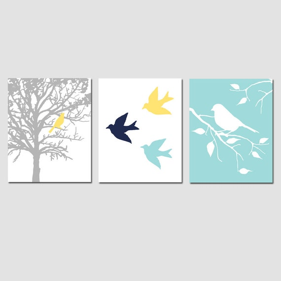 Modern Bird Trio - Set of Three 8x10 Prints - Modern Nursery Art - CHOOSE YOUR COLORS - Shown in Navy Blue, Aqua Blue, Yellow, Gray