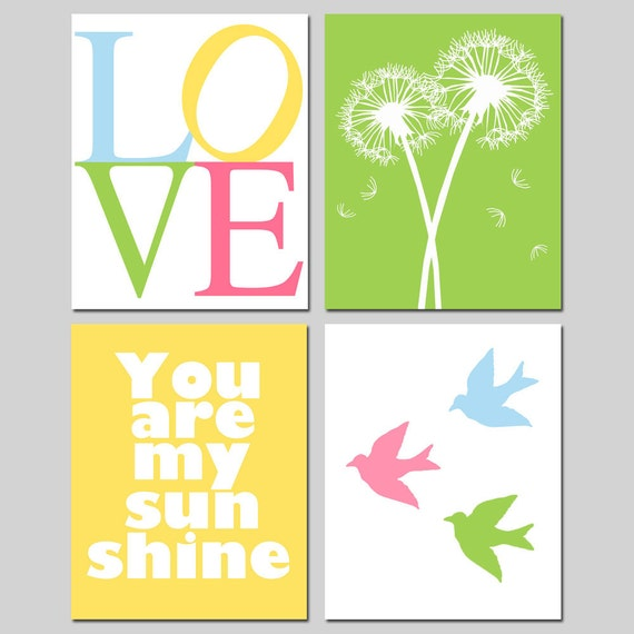 Nursery Art - Set of Four 11x14 Prints - You Are My Sunshine, Balloons, LOVE Stencil, Lollipops, Tree Dot, Baby Birds, Keep Calm and Rock On