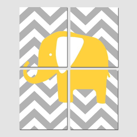 Chevron Elephant - Modern Nursery Art Quad - Set of Four 11x14 Prints - Kids Wall Art - CHOOSE YOUR COLORS - Shown in Yellow, Gray, and More