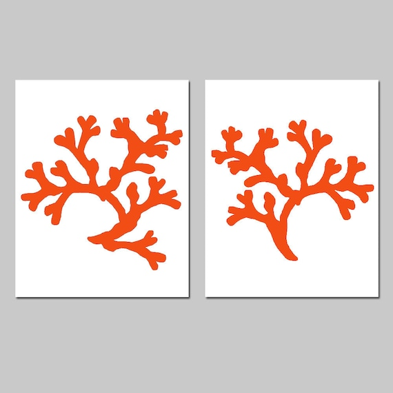 Coral Wall Art Coral Beach Decor - Set of 2 Coral Silhouette Prints - Choose Your Size and Colors