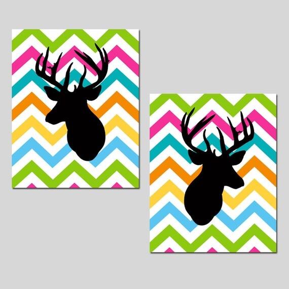 Chevron Deer Set Of Two 8x10 Prints Bathroom Nursery Kitchen