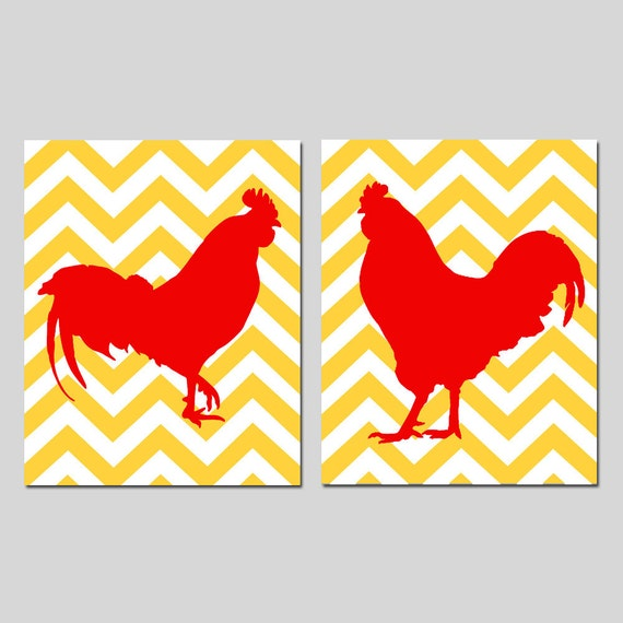 Https Www Etsy Com Listing 100708984 Chevron Rooster Kitchen Art Duo Kitchen