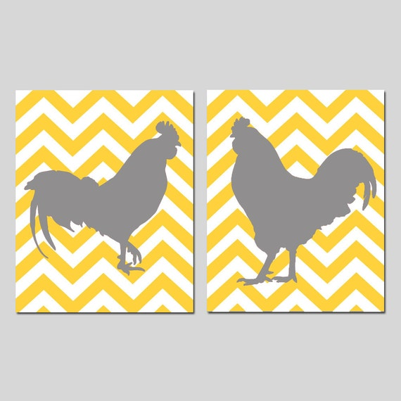 Chevron Rooster Duo - Set of Two 11x14 Prints - CHOOSE YOUR COLORS - Shown in Gray, Yellow, Red, and More