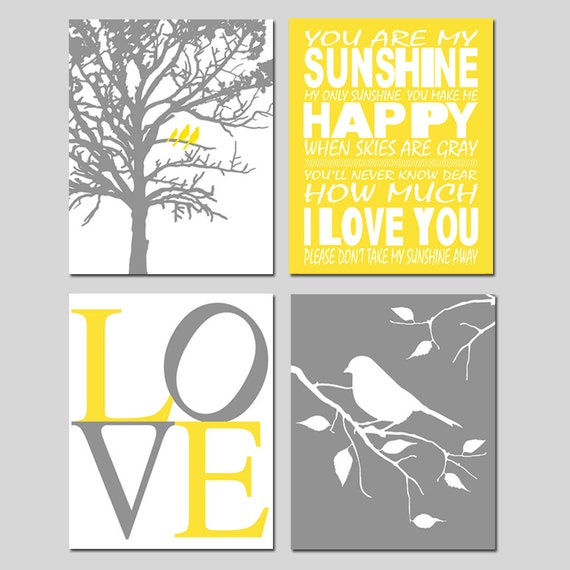 Nursery Quad - Set of Four 8x10 Prints - You Are My Sunshine, LOVE, Birds in a Tree, Tree Dot, Dandelions, Bird on a Branch